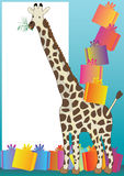 Giraffe And Gift_eps. Illustration of giraffe eat grasses and gift boxes. --- This .eps file info Document: A4 Paper Size Document Color Mode: CMYK Color Preview vector illustration
