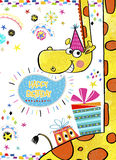 Giraffe with gifts.Happy Birthday Invitation.Birthday greeting card with gifts in bright colors.Birthday card.Party invitation. Royalty Free Stock Images