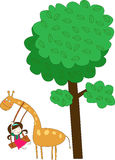 Giraffe and girl. Play with under the tree Stock Photos
