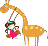 Giraffe and girl. Play with together Royalty Free Stock Photo