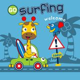 Giraffe go to surfing funny animal cartoon,vector illustration. For t shirt and wallpaper or book royalty free illustration