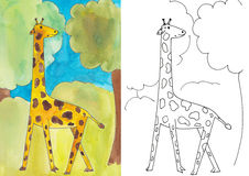 Giraffe. Hand-drawn illustration of a coloring book stock illustration