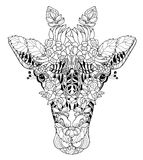 Giraffe head doodle on white background Stock Images