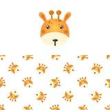 Giraffe Head Icon And Pattern Stock Photo