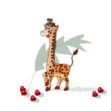 Giraffe in the hearts for Valentine`s Day.. Vector decorative texture. Stock Image