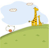 Giraffe and her baby in nature Royalty Free Stock Photography