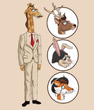 Giraffe hipster style elegant dressed with icons animals. Vector illustration eps 10 Stock Photo