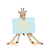 Giraffe holding a sign for the label. Royalty Free Stock Photo