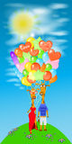 Giraffe illustration. with a lot of balloons on  green hill Royalty Free Stock Photos
