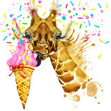 Giraffe illustration with splash watercolor textured background royalty free illustration