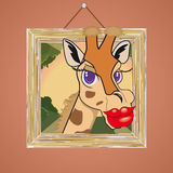 Giraffe. Image of a cartoon Giraffe popping out of a picture frame Royalty Free Stock Photo