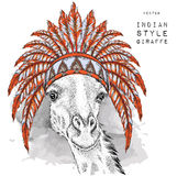 Giraffe in the Indian roach. Indian feather headdress of eagle. Hand draw vector  illustration Royalty Free Stock Photos