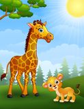 Giraffe and lion cub cartoon in the jungle Stock Photography