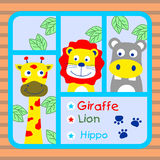 Giraffe lion hippo. Cute giraffe,lion and hippo is best friend Royalty Free Stock Images