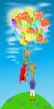 Giraffe with a lot of balloons fly away. Giraffe illustration. with a lot of balloons fly away, off the ground. baby picture. Cartoon. used to print, website Stock Photography