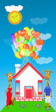 Giraffe with a lot of balloons in the house Royalty Free Stock Photo