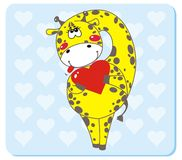 Giraffe in love. Giraffe with Heart Shape. Vector illustration to Valentine's Day Royalty Free Stock Photo