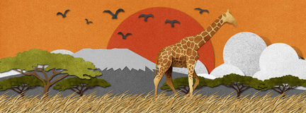 Giraffe made from recycled paper background Royalty Free Stock Image