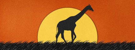Giraffe made from recycled paper background Royalty Free Stock Images