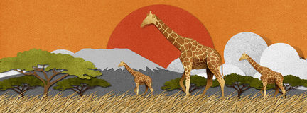 Giraffe made from recycled paper background Royalty Free Stock Photos