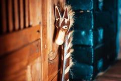 Giraffe made of wood stock image