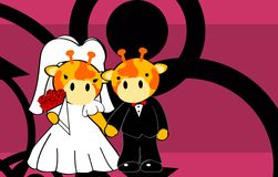 Giraffe married cartoon background Royalty Free Stock Image