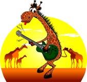 Giraffe mit einer Gitarre. Stockfotos