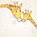 Giraffe and mom Royalty Free Stock Photo