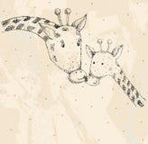 Giraffe and mom. Baby giraffe and mom. Hand drawn illustration Royalty Free Stock Image