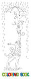 Giraffe and monkeys. Coloring book Stock Photography