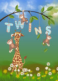 Giraffe and monkeys for twins Royalty Free Stock Image