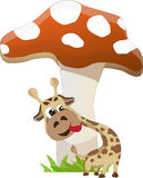 Giraffe and mushroom. Cute giraffe and mushroom easy vector Stock Photography