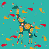 Giraffe with Oriental Designs. Dark teal giraffe with many colored oriental designs on it and around it Stock Photography