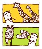 Giraffe & owl Royalty Free Stock Photo