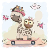 Giraffe and owl. Cute Giraffe and owl on a skateboard vector illustration