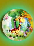 Giraffe painted on glass Royalty Free Stock Photos