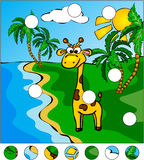 Giraffe and palm trees on the tropical island:  Royalty Free Stock Photo