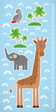 Giraffe parrot bird and palms on blue background Children height meter wall sticker. Vector Royalty Free Stock Photography