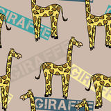 Giraffe Pattern. A seamless pattern of a simple sketch of a yellow giraffe with brown spots and the word giraffe on a brown background Stock Illustration