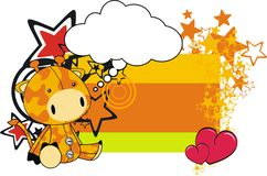 Giraffe plush cartoon card. In format royalty free illustration