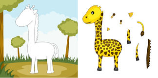 Giraffe puzzle. A vector illustration of a giraffe puzzle Royalty Free Stock Images