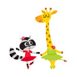 Giraffe and raccoon, puppy and kitten characters dancing ballet together Royalty Free Stock Image