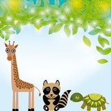 Giraffe,  raccoon and  turtle funny cartoon animals character. Summer background with green leaves. Stock Photo