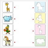 Giraffe, rhino, parrot and zebra. Educational game for kids Royalty Free Stock Photo