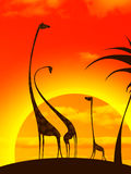 Giraffe's family stock illustration