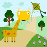 Giraffe's kite Stock Photography