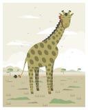 Giraffe in the savanna. In editable vector file vector illustration