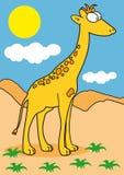 A giraffe in the savanna stock illustration