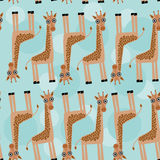 Giraffe Seamless pattern with funny cute animal on a blue backgr Stock Photography