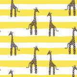 Giraffe skin vector seamless pattern. Safari animal texture stains background with lines for kids. Stock Photos